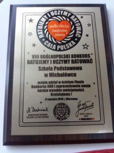 """Mali ratownicy z Michałówki w ścisłym Finale  VIII Ogólnopolskiego Konkursu """"Ratujemy i Uczymy Ratować"""""""