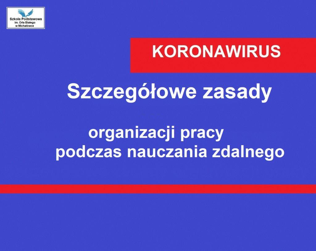 Szczegółowe zasady organizacji pracy podczas nauczania zdalnego  w Szkole Podstawowej im. Orła Białego w Michałówce